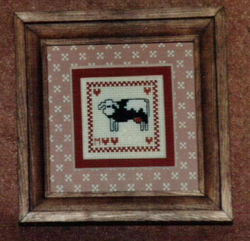 Mini Cow Ornamat cross stitch chart with double mat Dunfield Inc 4x4