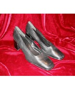 Black Nine West Leather Shoes Pump Heel 10 M - $13.50