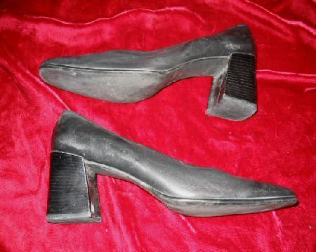 Black Nine West Leather Shoes Pump Heel 10 M