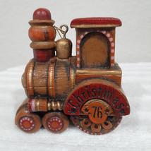 Vintage 1976 Hallmark Woodgrain Train Engine Ornament - $18.99