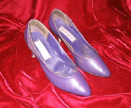 Salvatini Purple Leather Shoes Pump Heel 8.5