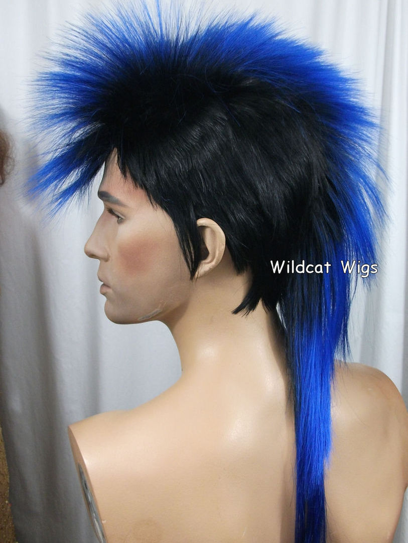 Unisex MOHAWK Quality Wig for men or women.  Black and Blue!
