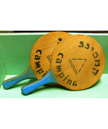 "Vintage Customized Wood Outdoor ""Rally Ball"" type Paddles Stenciled ""CA... - $9.95"