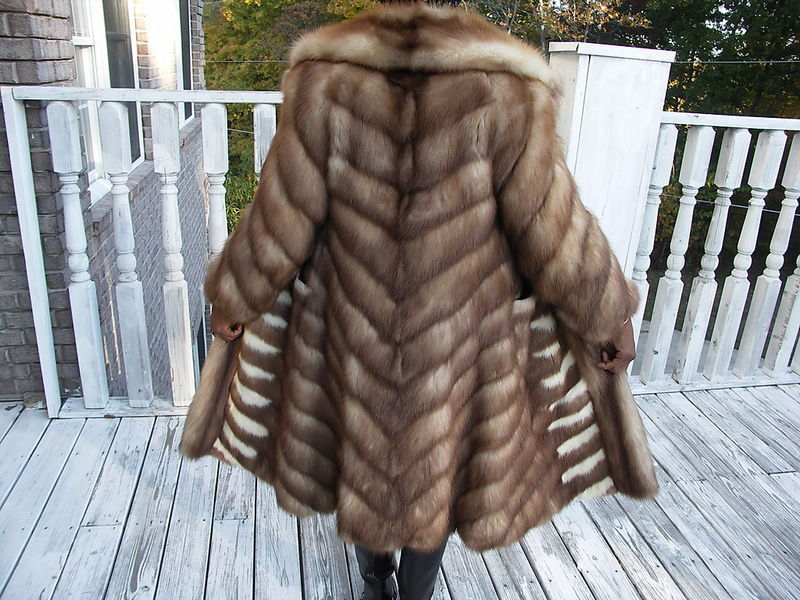 Evans fitted FL Stone marten Sable Fur Coat Jacket S-8