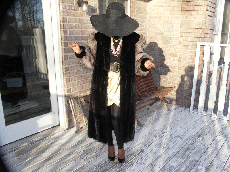 Primary image for Full length Crystal fox & black Mink Fur Coat Jacket M