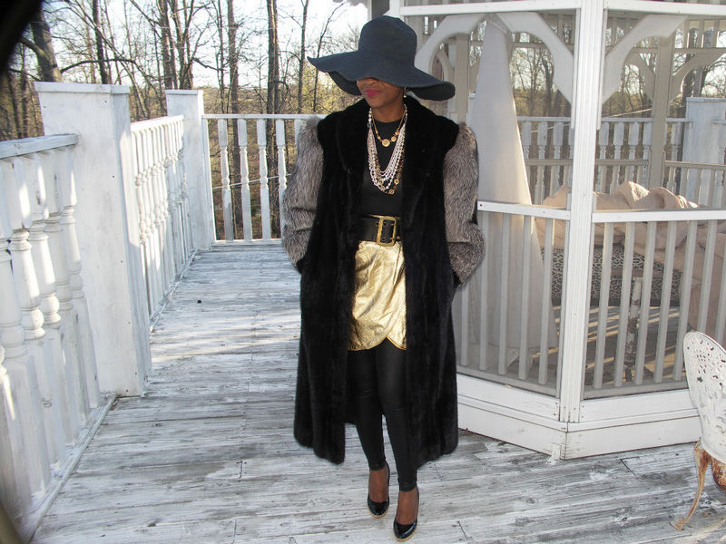 Full length Crystal fox & black Mink Fur Coat Jacket M