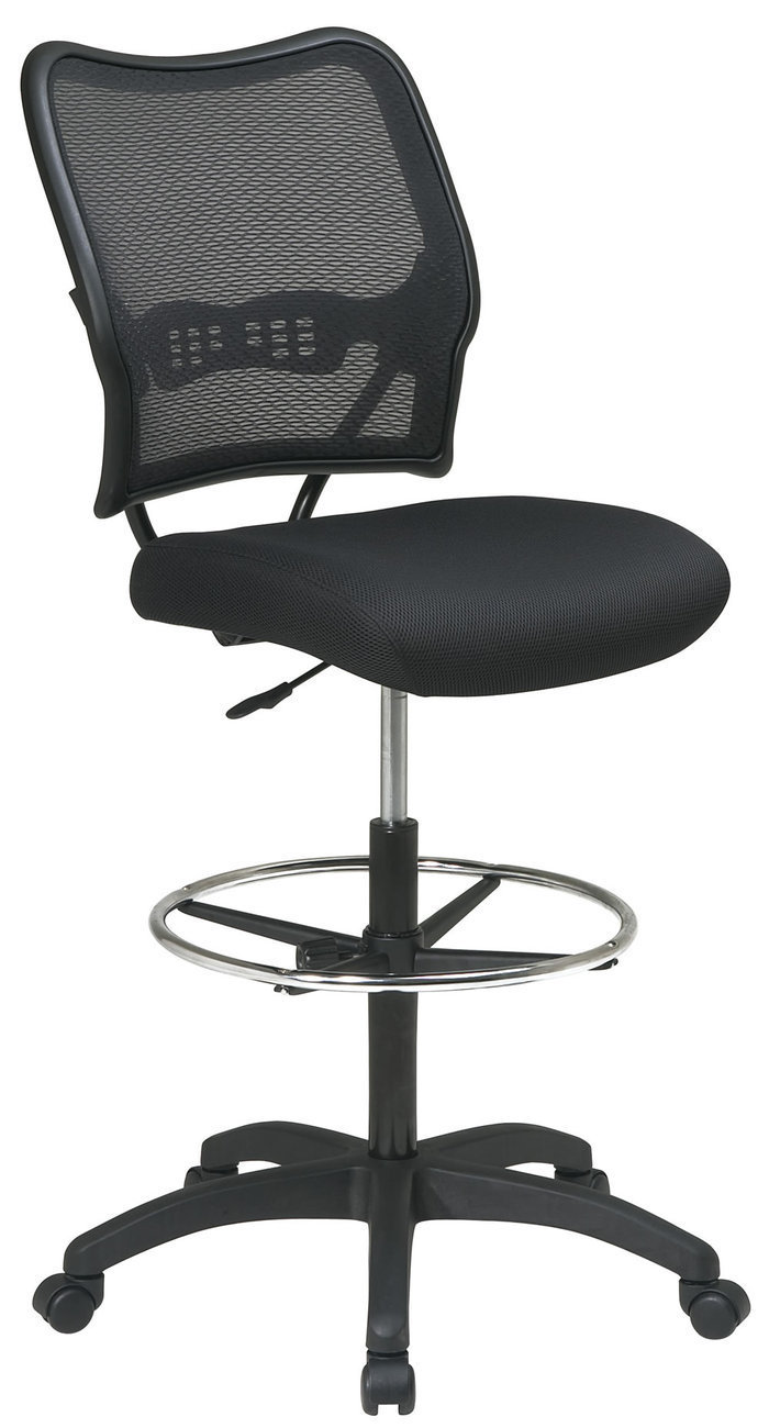Air Grid Back Mesh Seat Adjustable Round Footring Drafting Chair Stool
