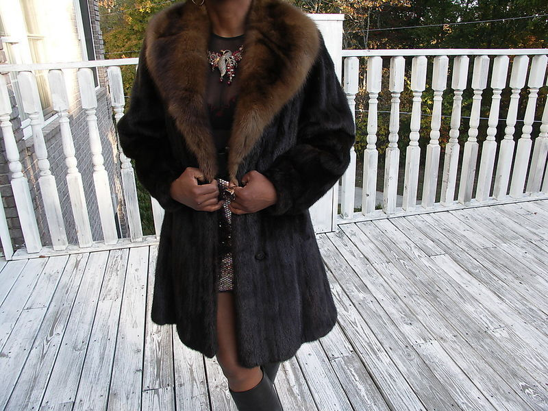 Mint Desginer Expensive Russian Barguzine Sable & Mink Fur Coat Jacket S-M 4-10