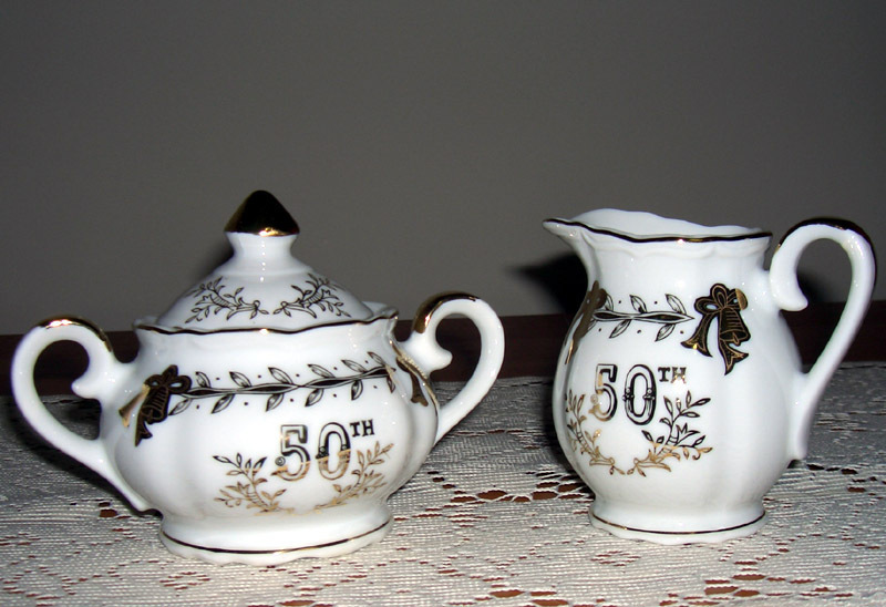 Lefton China  50th Anniv.(great gift) creamer & sugar