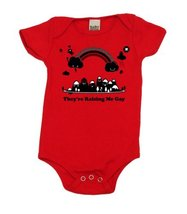 They're Raising Me Gay Baby Bodysuit, 12-18 mo, Organic Red - $25.99