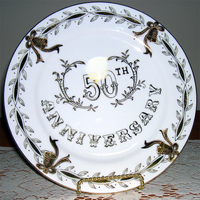 "Lefton China 50th Anniv 9"" plate It makes the 50th memorable"