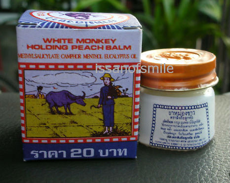 WHITE MONKEY HOLDING PEACH THAI BALM HERBAL RELIEF 12G