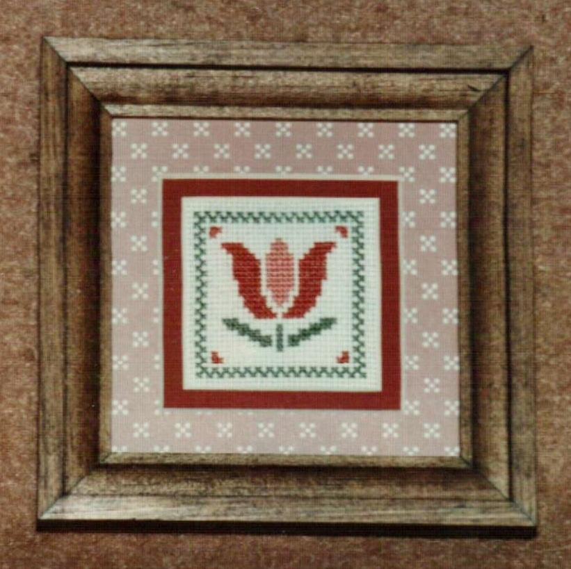 Mini Tulip Ornamat cross stitch chart with double mat Dunfield Inc 4x4