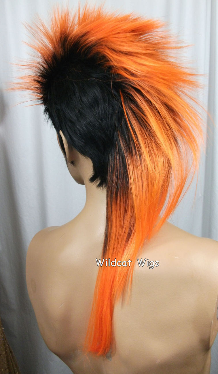 Unisex MOHAWK Quality Wig for men or women.  Black tipped in Orange!