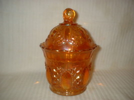 Imperial Marigold Carnival Glass Candy Jar & Lid Tall - $50.48