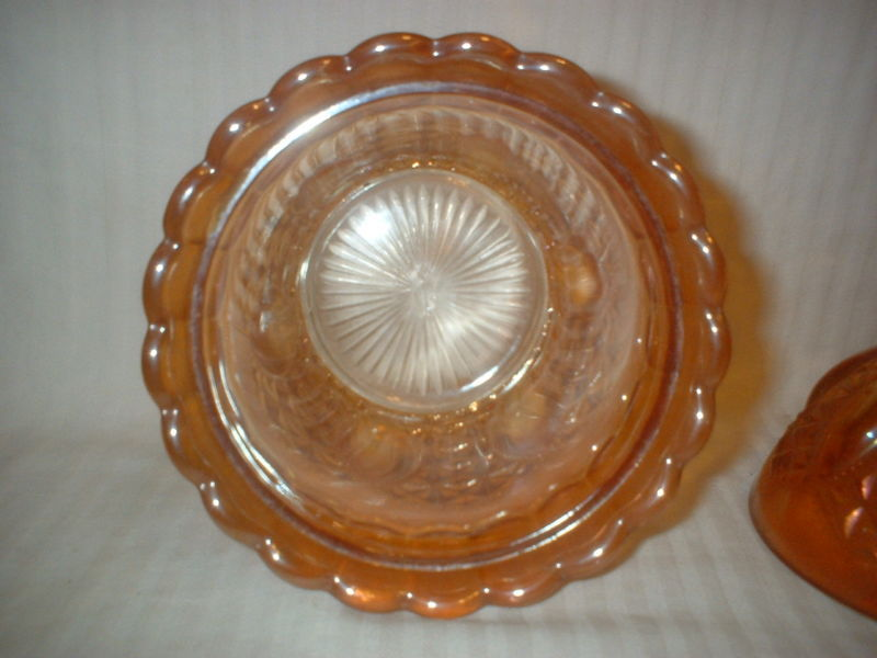 Imperial Marigold Carnival Glass Candy Jar & Lid Tall