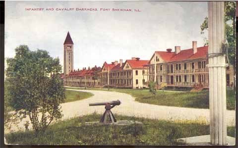 Ft Sherdian IL postcard US Army Infantry Cavalry barracks military vintage