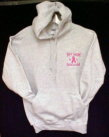 Pink Ribbon Awareness Hoodie L My Mom is a Survivor Gray Sweatshirt Unisex New