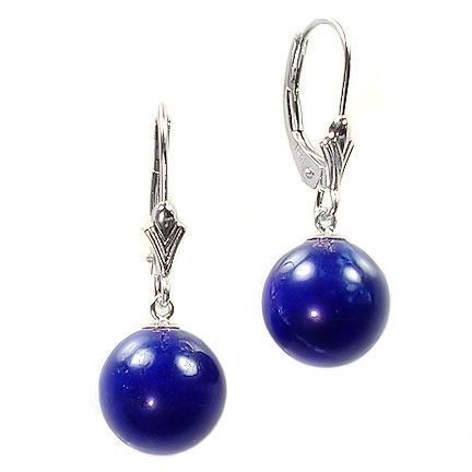 12mm Lapis Ball Drop Leverback Earrings 14K White Gold