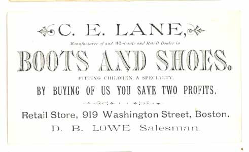 Lane Rockland MA boots shoes trade card Victorian antique ephemera accessories
