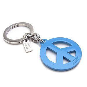COACH Pave Peace Sign Key Fob Blue NWT 92755