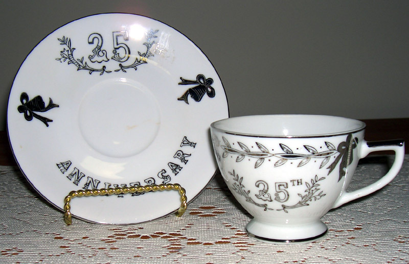 Lefton China 25th anniv cup and saucer