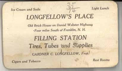 Longfellow's Place New Hampshire filling station 1926 map trade business card