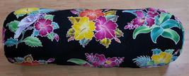 New Handpainted Batik Tropical Flowers Hibiscus Cotton Bolster Pillow Cover Bali - $30.86