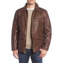 SPREAD COLLAR MEN MILITARY LEATHER JACKET