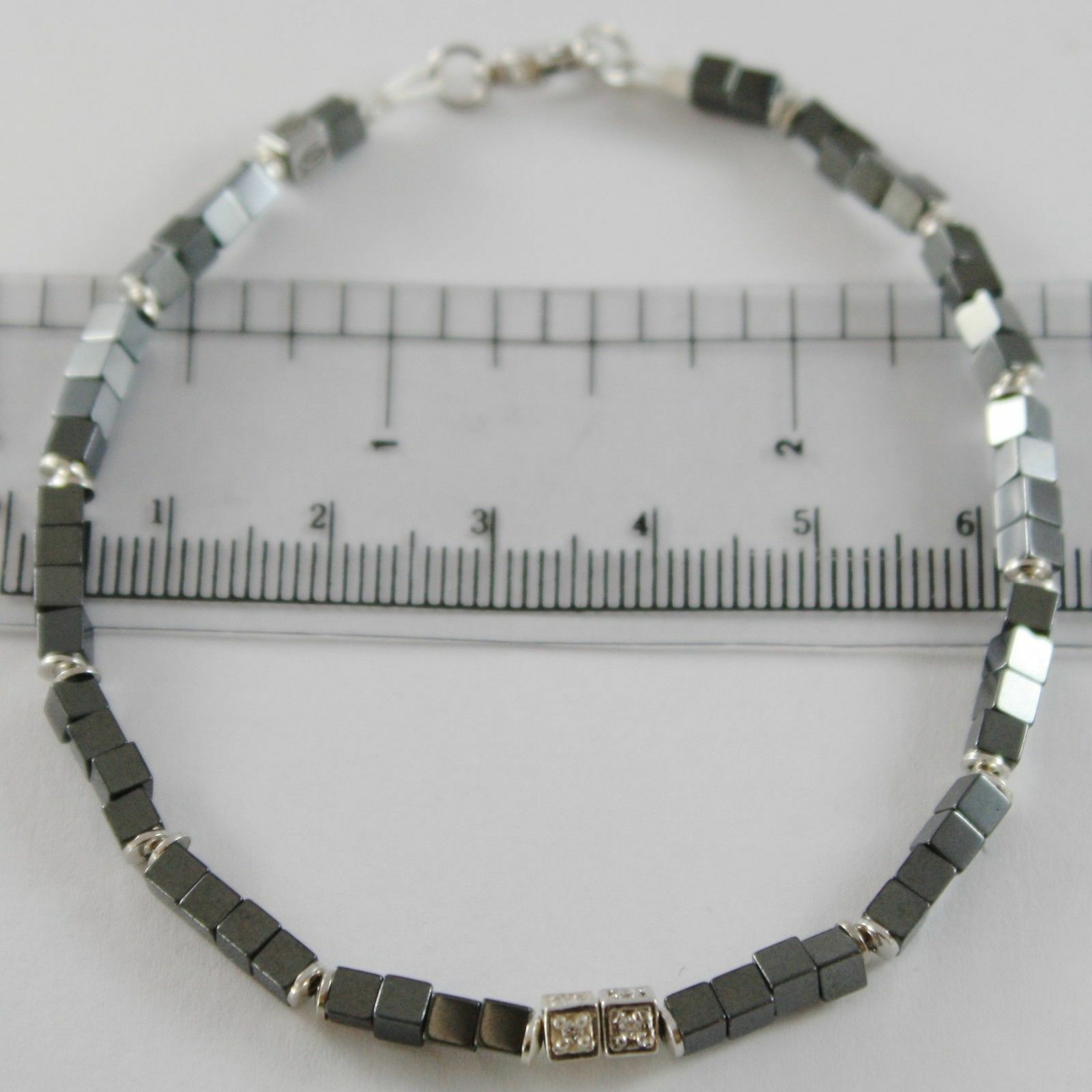 BRACELET GIADAN DANS ARGENT 925 HÉMATITE BRILLANTE ET DIAMANTS BLANC MADE IN