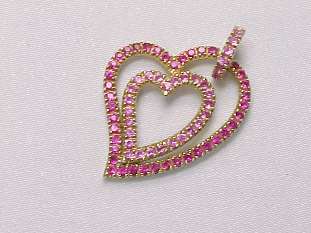 Primary image for PINK SAPPHIRES Double HEART Pendant in GOLD on STERLING Silver - 1 5/8 inches