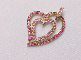 PINK SAPPHIRES Double HEART Pendant in GOLD on STERLING Silver - 1 5/8 i... - $90.00