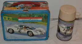 1967 Vintage AUTO RACE GAME KIT metal LUNCH BOX and THERMOS w/ WHITE lid - $93.49