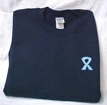 Colon Cancer Sweatshirt L Blue Scroll Awareness Ribbon Navy Crew Neck Blend New - $26.43