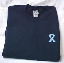 Colon Cancer Sweatshirt L Blue Scroll Awareness Ribbon Navy Crew Neck Blend New - $26.16