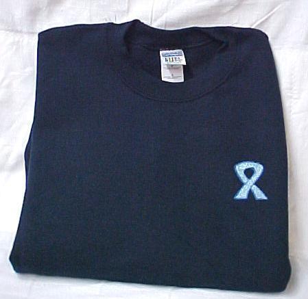 Colon Cancer Sweatshirt L Blue Scroll Awareness Ribbon Navy Crew Neck Blend New