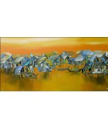 """Golden Light on the River, a 24"""" x 48"""" commission original painting by P... - $399.00"""