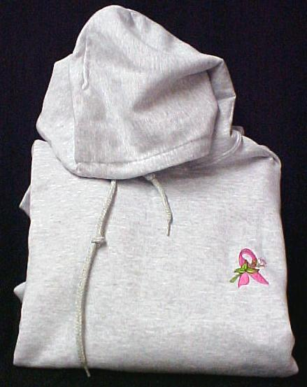 Pink Ribbon Rose Hoodie L Breast Cancer Awareness Gray Sweatshirt Unisex New Bra