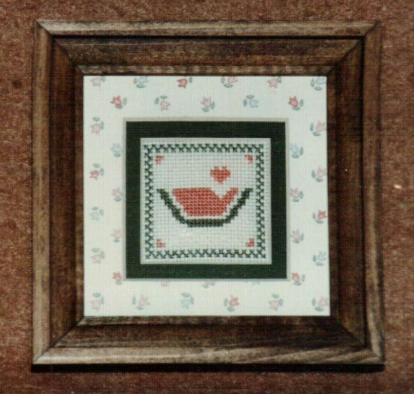 Mini Watermelon Ornamat cross stitch chart with double mat Dunfield Inc 4x4