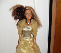 1999 Barbie Doll Wearing Gold Dress - $5.99