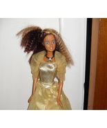 1999 Barbie Doll Wearing Gold Dress - $5.99