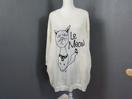 Melissa McCarthy Seven 7 Sweater Le Meow Cat Tunic Top Ivory Plus Size 1... - $29.99