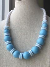 "Vintage Retro Baby Blue & White Plastic Disk & Bead Statement Necklace 18"" - $14.84"