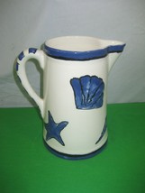 Porcelain Water Pitcher Hand Painted Blue on White 97 - $11.83
