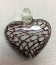 Women Murano Glass Pendant Heart Shaped White and Brown. - $6.95