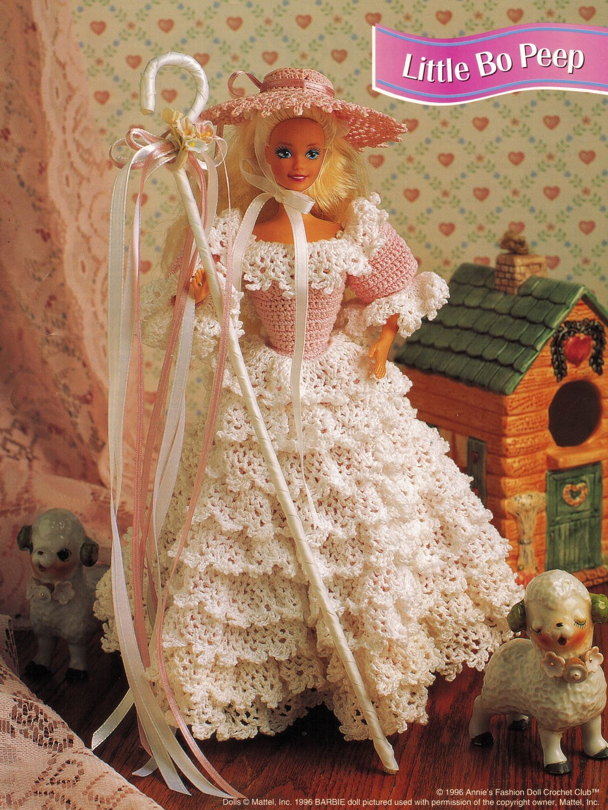 "3X Barbie 11-1/2"" Doll Angel Frills & Ruffles & Bows Trinket Box Crochet Pattern"