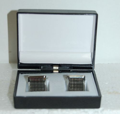 Cufflinks Checkered Design Silver Black Color Nicely Packaged Box