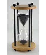 DECOR 10 MINUTE Black SAND TIMER Hourglass wood Gift  - $45.95
