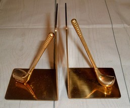 Vintage Solid Brass Book Ends Golf Club Man Cave Father Day Office Mod - $24.98