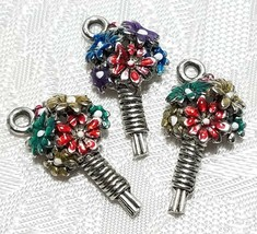 COLORFUL BOUQUET OF FLOWERS FINE PEWTER PENDANT CHARM - 11x21x5mm image 1